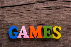 Games word made of wooden letters Stock Photography