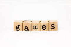 Games wording isolate on white background Stock Photos