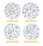 Gamification Doodle Illustrations. Doodle  illustrations of integrating game mechanics into website, application or online community to engage and motivate Royalty Free Stock Photos