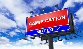Gamification Inscription on Red Billboard. Stock Photo