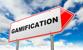 Gamification on Red Road Sign. Royalty Free Stock Image