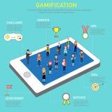 Gamification strategibegrepp för digital och social massmediafläck Royaltyfri Bild