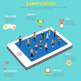 Gamification strategy concept for digital and social media mark Royalty Free Stock Image