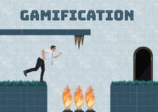 Gamification text and Businessman in Computer Game Level with fire and traps. Digital composite of Gamification text and Businessman in Computer Game Level with Stock Photos