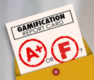 Gamification wykazu ocen niepowodzenia lub sukcesu rezultaty Gamify Uczą się royalty ilustracja