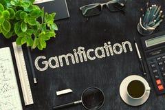 Gamificationconcept op Zwart Bord het 3d teruggeven Stock Foto's