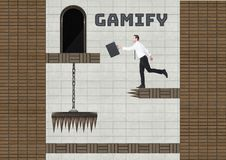 Gamify text and Businessman in Computer Game Level with coins and traps vector illustration