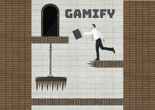Gamifytekst en Zakenman in het Niveau van het Computerspel met muntstukken en vallen vector illustratie