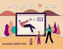 Gaming addiction, health disorder concept. Man plays video game and ignores his family. Line with editable stroke. Vector flat. Gaming addiction, health disorder stock illustration