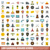 100 gaming award icons set, flat style. 100 gaming award icons set in flat style for any design vector illustration Stock Image