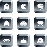 Gaming buttons. Collection of gaming icons set on keypad style buttons Royalty Free Stock Photo
