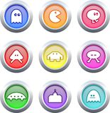 Gaming buttons. Collection of retro style gaming buttons isolated on white Stock Image