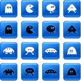 Gaming buttons. Collection of blue square video gaming rollover buttons Royalty Free Stock Photos