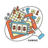 Gaming concept. A hand touching slot machine in line style Stock Photo