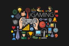Gaming concept for web design template Royalty Free Stock Image