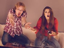 Gaming couple playing games royalty free stock image