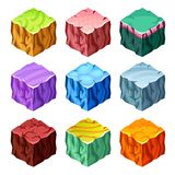 Gaming Cubes Landscape Elements Isometric Set. Isometric set of colorful gaming cubes with landscape elements on white background isolated vector illustration Royalty Free Stock Image