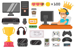 Gaming cyber sport vector set. Flat design cyber sport gaming vector illustration concept tool and essential. Various devices player virtual computer gamer item Stock Photo