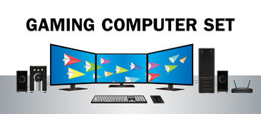 Gaming desktop computer set with multi monitor Royalty Free Stock Photo
