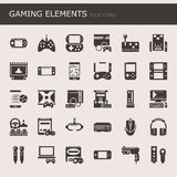 Gaming Elements. Solid Icons and Pixel Perfect Icons Stock Photo