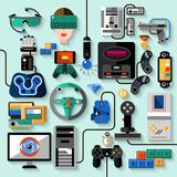 Gaming Gadgets Set. Gaming gadgets computer play technologies icons set isolated vector illustration Stock Photo