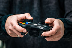 Gaming game play video on tv or monitor. Gamer concept. Royalty Free Stock Photo