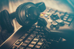 Gaming game play video on tv or monitor. Gamer concept. Stock Photos