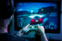 Gaming game play video on tv or monitor. Gamer concept. Royalty Free Stock Image