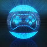 Gaming icon on globe formed by binary code. 3d render Stock Image