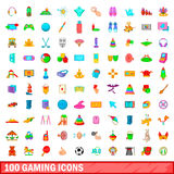 100 gaming icons set, cartoon style. 100 gaming icons set in cartoon style for any design vector illustration Stock Photo