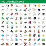 100 gaming icons set, cartoon style. 100 gaming icons set in cartoon style for any design illustration royalty free illustration