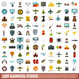 100 gaming icons set, flat style Royalty Free Stock Images