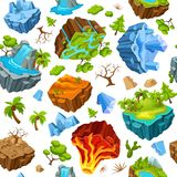 Gaming Islands And Nature Elements Pattern Stock Photo