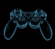 Gaming joystick. (3D x-ray blue transparent isolated on black Stock Image