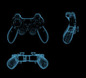Gaming joystick. (3D x-ray blue transparent isolated on black Royalty Free Stock Photo