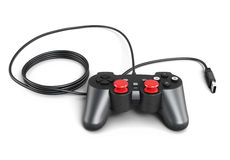 Gaming joystick with cable on white background. 3d illustration Stock Photos