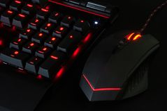 Gaming Keyboard with Lights and mouse royalty free stock image