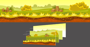 Gaming Landscape With Separated Layers. Gaming sunny landscape including green fields and stones with separated layers on grey background vector illustration Royalty Free Stock Photos