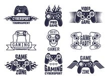Gaming logo set. Video games and cyber sport labels. Gamer emblem logo, sport cyber, video gaming, vector illustration royalty free illustration