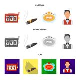 A gaming machine a one-armed bandit, a cigar with smoke, a five-star hotel sign, a dilettante in a vest. Casinos and. Gambling set collection icons in cartoon Stock Photos