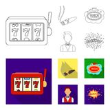 A gaming machine a one-armed bandit, a cigar with smoke, a five-star hotel sign, a dilettante in a vest. Casinos and. Gambling set collection icons in outline royalty free illustration