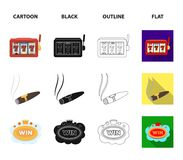 A gaming machine a one-armed bandit, a cigar with smoke, a five-star hotel sign, a dilettante in a vest. Casinos and. Gambling set collection icons in cartoon Royalty Free Stock Photo