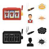 A gaming machine a one-armed bandit, a cigar with smoke, a five-star hotel sign, a dilettante in a vest. Casinos and. Gambling set collection icons in cartoon Royalty Free Stock Photos