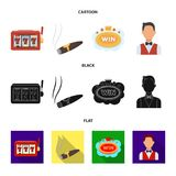 A gaming machine a one-armed bandit, a cigar with smoke, a five-star hotel sign, a dilettante in a vest. Casinos and. Gambling set collection icons in cartoon Royalty Free Stock Image