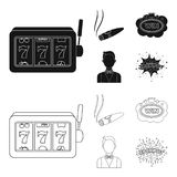A gaming machine a one-armed bandit, a cigar with smoke, a five-star hotel sign, a dilettante in a vest. Casinos and. Gambling set collection icons in black stock illustration