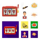 A gaming machine a one-armed bandit, a cigar with smoke, a five-star hotel sign, a dilettante in a vest. Casinos and. Gambling set collection icons in cartoon stock illustration