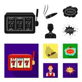 A gaming machine a one-armed bandit, a cigar with smoke, a five-star hotel sign, a dilettante in a vest. Casinos and. Gambling set collection icons in black Stock Image