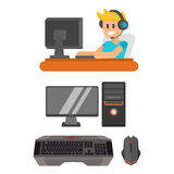 Gaming man with headphones vector illustration. Royalty Free Stock Image