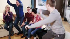 Party of adult group of adult friends. Gaming party of adult group of adult friends stock video footage