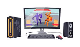 Gaming Personal Computer Vector Illustration stock illustration